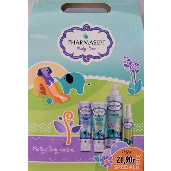 Pharmasept Baby Care Promo Pack - Mild bath 500ml + Soothing Cream 150ml + Extra Calm Cream 150ml + Baby Natural Oil 100ml