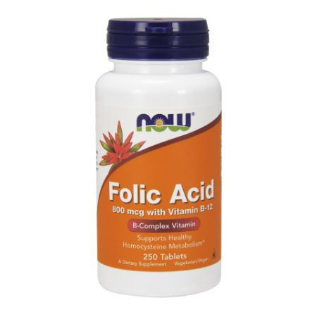 Now Foods Folic Acid 800 Mcg With Vitamin B-12 X 250 Tabs