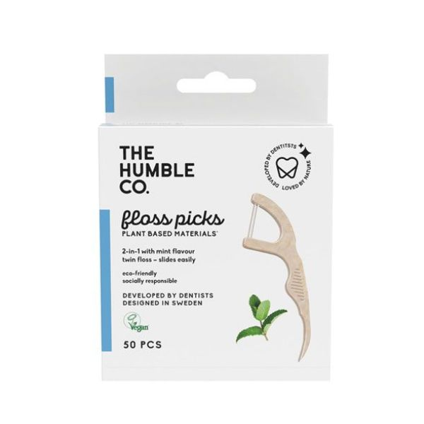 The Humble Co. Dental Floss Picks 2 In 1 Mint 50 Τεμ